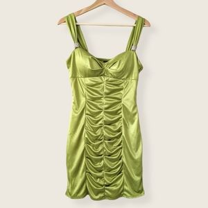 Lime green y2k satin ruched dress